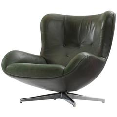 Illum Wikkelsø Green Leather Swivel Lounge Chair