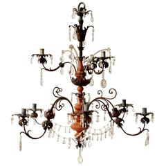 18th Century Baroque Iron, Crystal and Painted Wood Chandelier