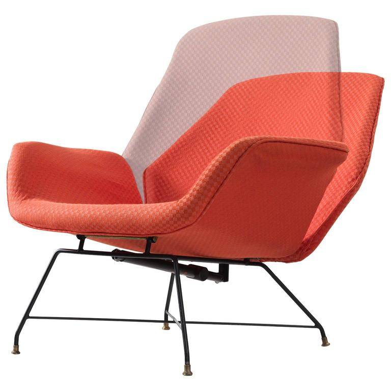 Augusto Bozzi Adjustable Orange Lounge Chair for Saporiti For Sale at 1stdibs