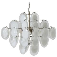 Vistosi Murano Chandelier in White and Clear Glass