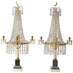 Pair of Louis XVI Crystal and Gilt Bronze Candelabra with a Marble Base
