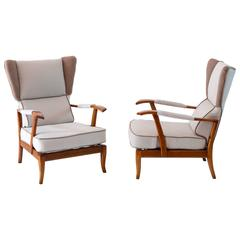 Interesting Pair of Reclining Wingback Armchairs by Paolo Buffa, 1940