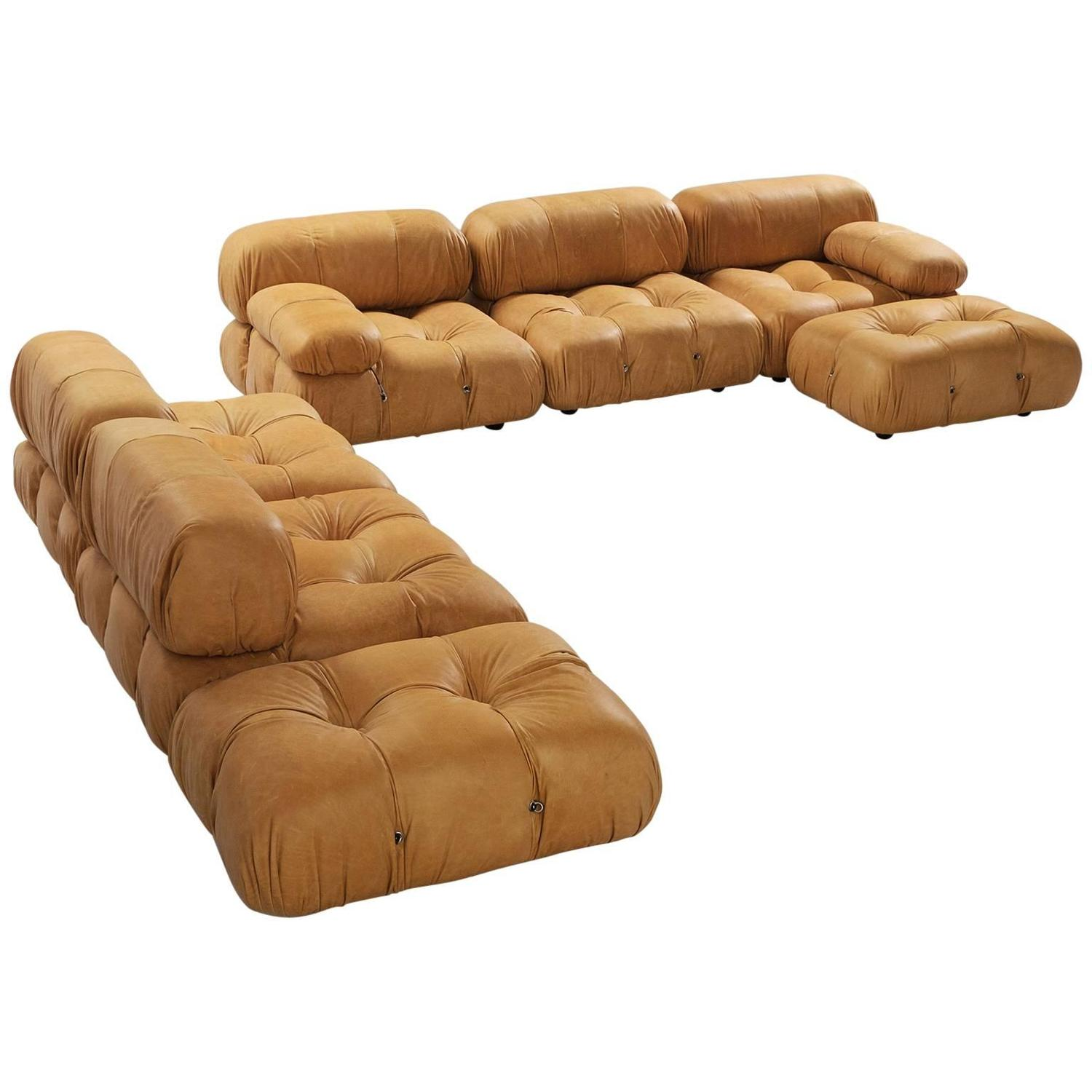 mario bellini reupholstered 39 camaleonda 39 modular sofa in cognac leather for sale at 1stdibs. Black Bedroom Furniture Sets. Home Design Ideas
