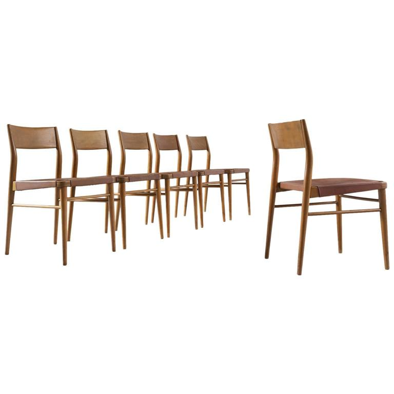 Set Of Six Italian Dining Chairs In Beech And Brown
