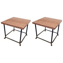 Pair of Side Tables with Top in Pink Ashlar Granite