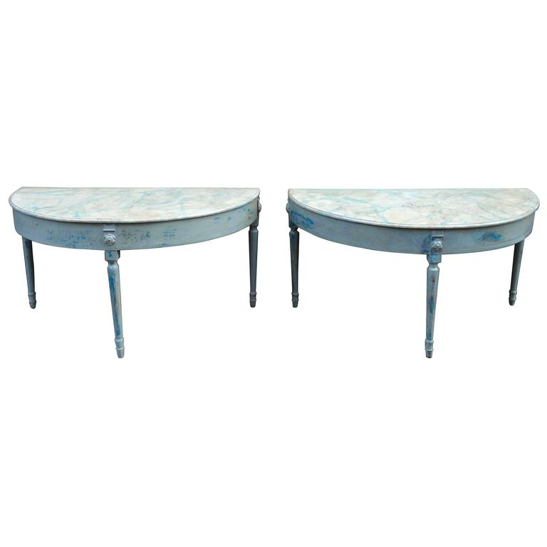 Large Pair of Painted 19th Century Swedish Demilune Tables