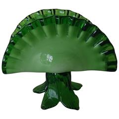 Mid-Century Murano Table Cloth or Letter Holder Two-Toned Green Glass