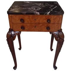 19th Century Chest of Drawers Side Table Marble-Top Carved Legs