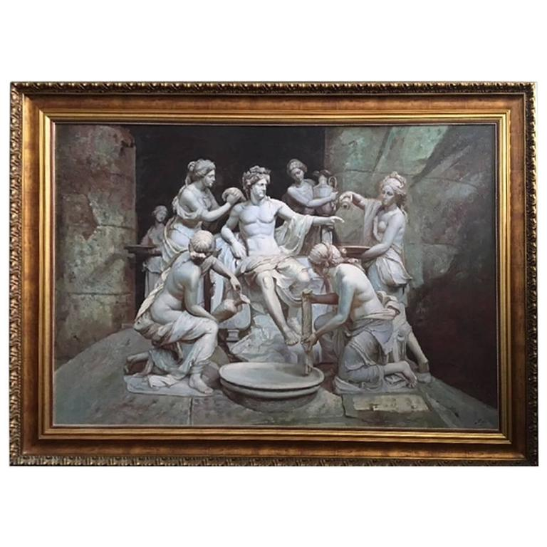 Apollo tended by the nymphs 61´x 84´ Large Italian 18th Century Style Old Master For Sale