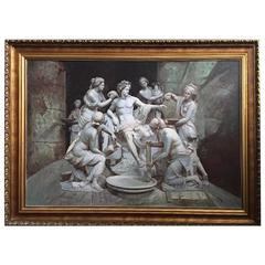 Apollo tended by the nymphs 61´x 84´ Large Italian 18th Century Style Old Master