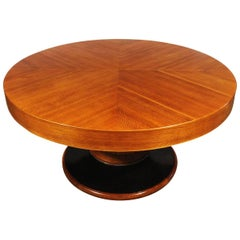1930´s Big Art Deco Round Table, oak and veneer, brass ring - Barcelona, Spain