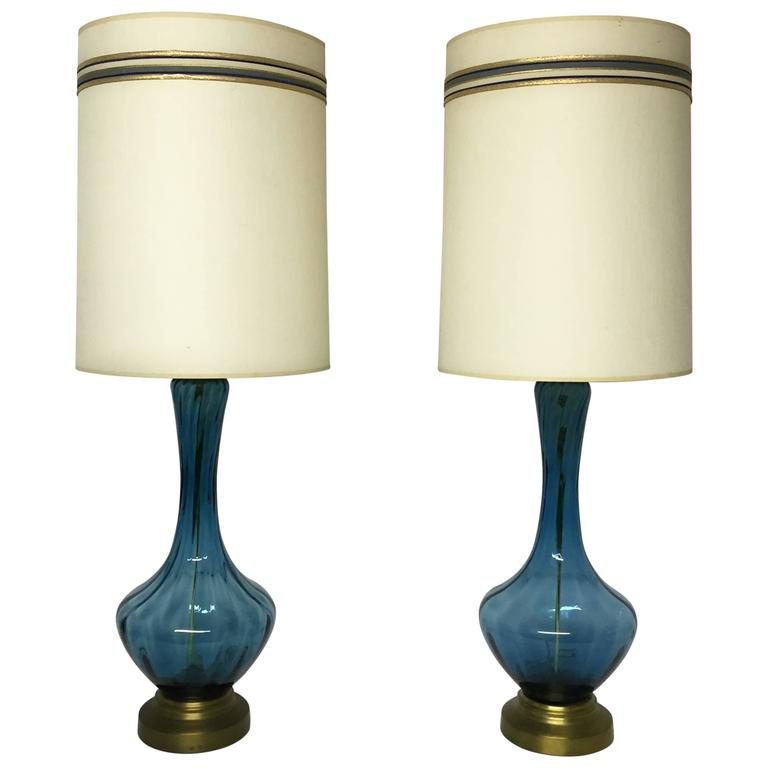 Mid Century Modern Blue Glass Table Lamps For Sale