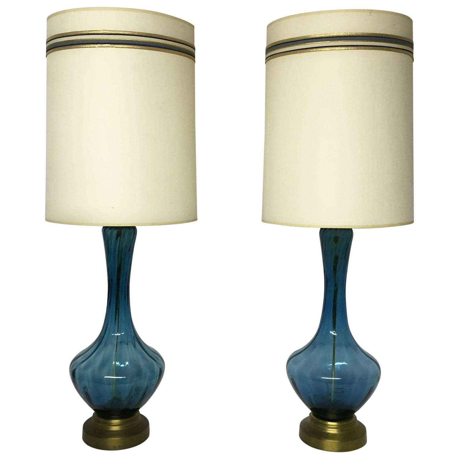 mid century table lamps mid century modern blue glass table lamps for at 1stdibs 29829