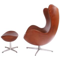 Arne Jacobsen 1960s Egg Chair and Stool in Patinated Leather for Fritz Hansen
