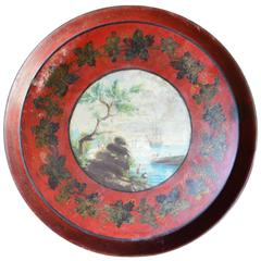 Early 19th Century Tole Tray with Painted Harbor Scene