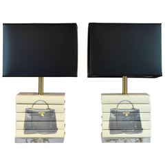 Pair of Vintage Custom Designed Book Lamps with Fashion Decor on Lucite Bases
