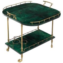 Aldo Tura Green Trolley in Parchment and Brass