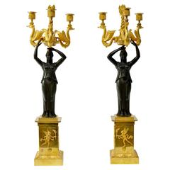 Pair of Russian Empire Gilt Bronze and Patinated Candelabra
