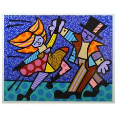 Large Romero Britto Serigraph 'Dancing Couple' Signed in Pencil, Annotated H.C.