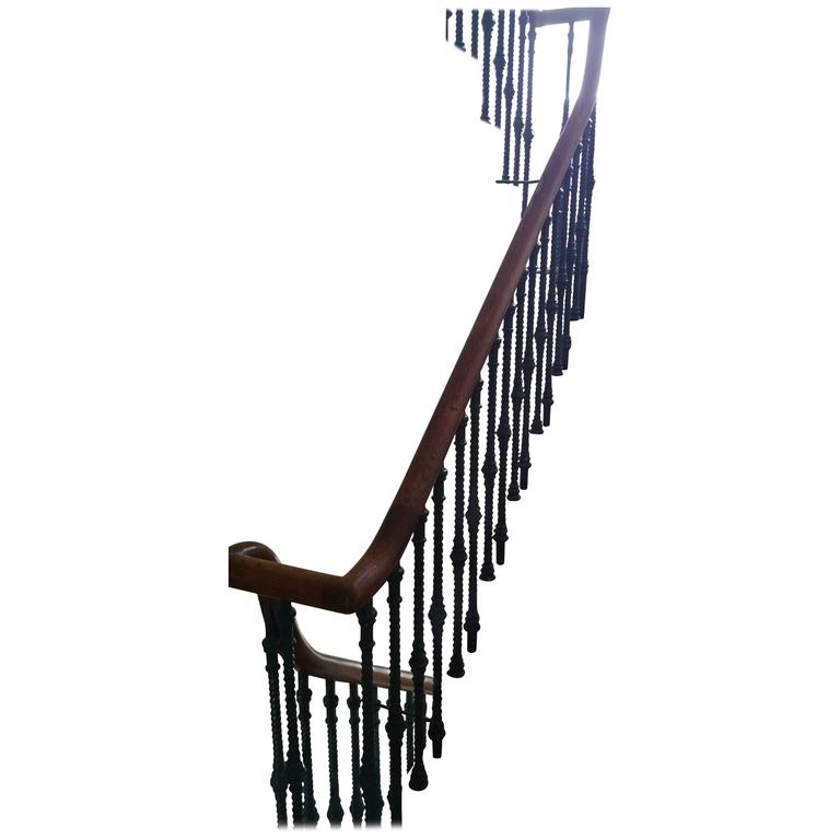 Bon 19th Century Cast Iron Staircase Spindles And Oak Handrail