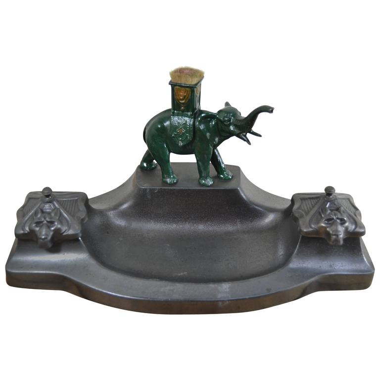 Antique Inkstand with Elephant Figurine and two inkwells