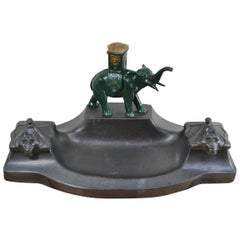 Art Deco Inkwell with Elephant Figurine , metal , 1930s