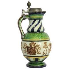 Big Majolica Beer Mug by Gerbing & Stephan, 1896