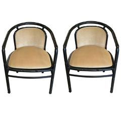 Chic Pair of Black Faux Bamboo Chairs with Camel Velvet Upholstery