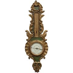 Louis XV Period French Giltwood and Lacquered Barometer