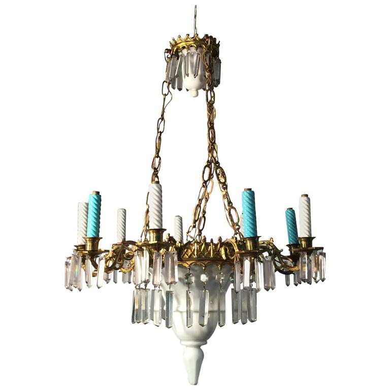 Ceramic glass and brass chandelier circa 1900 for sale at 1stdibs - Circa lighting chandeliers ...