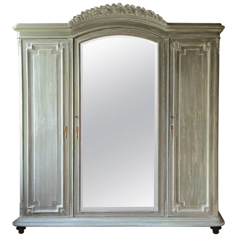 French Louis XVI Style Three-Door Painted Armoire, circa 1900