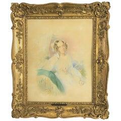 """Rare Watercolor Portrait of """"Katharina Von Pereira-Arnstein"""" by J. Kriehuber"""