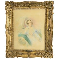 "Rare Watercolor Portrait of ""Katharina Von Pereira-Arnstein"" by J. Kriehuber"