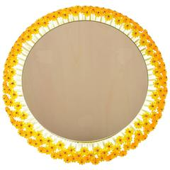 Illuminated Yellow Flower Mirror by Emil Stejnar for Rupert Nikoll from 1950s