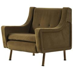 Italian Lounge Chair in Olive-Green Upholstery