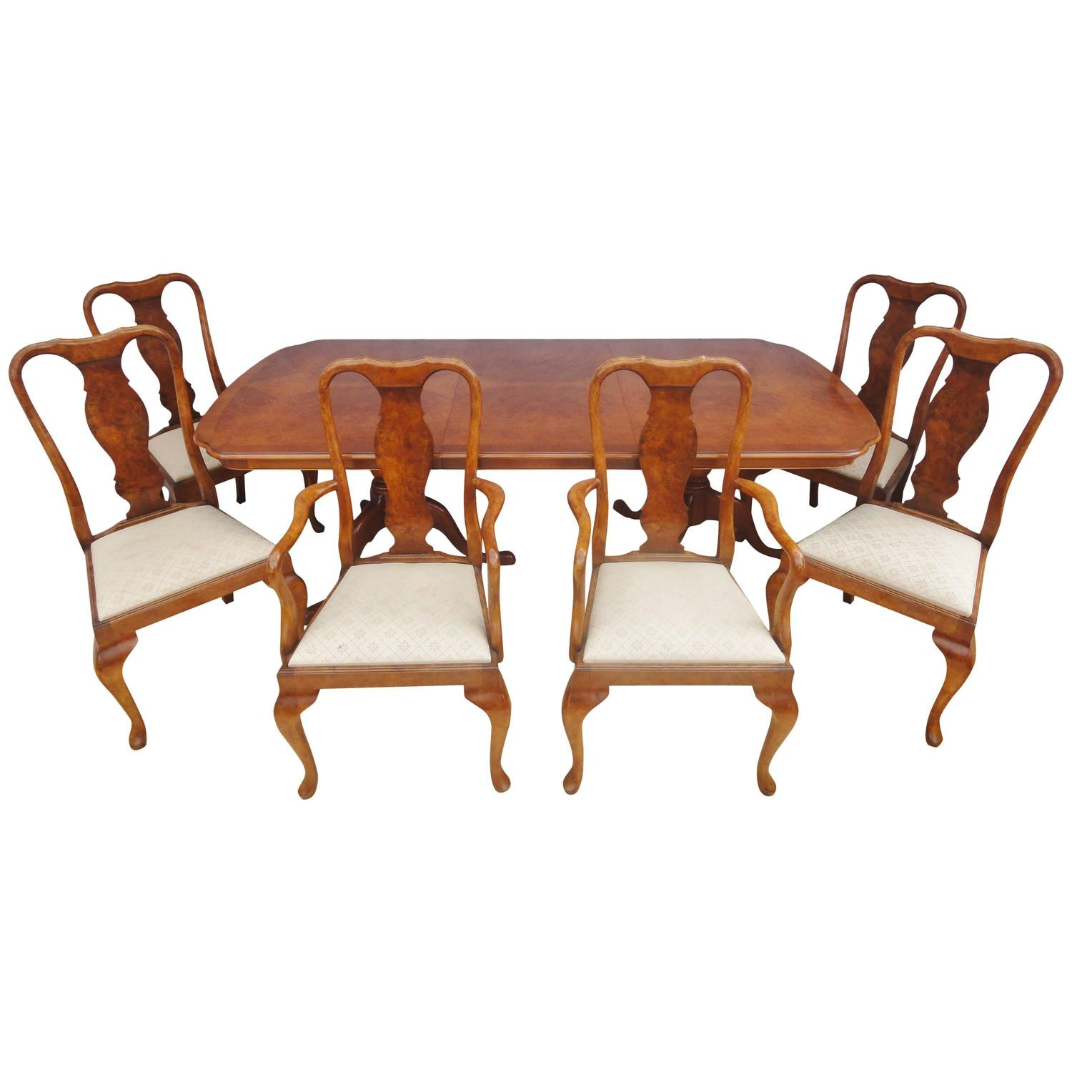 Antique Style Queen Anne Burr Walnut Dining Table And Six Matching Chairs At