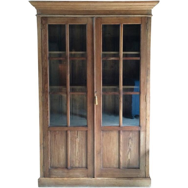 Antique Pine Bookcase Display Cabinet, Victorian, 19th Century For Sale - Antique Pine Bookcase Display Cabinet, Victorian, 19th Century At