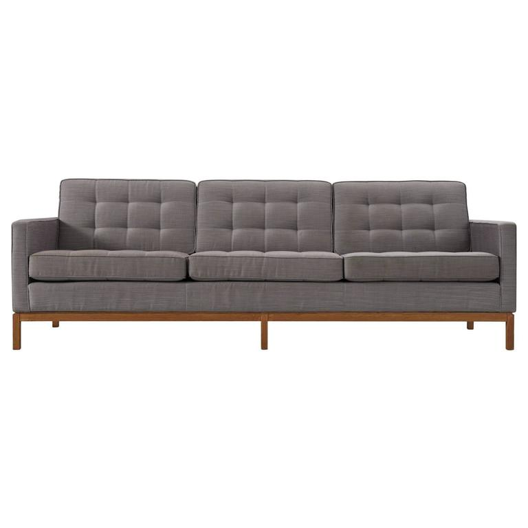 Florence Knoll Three-Seat Sofa with Wooden Base and Fabric Upholstery