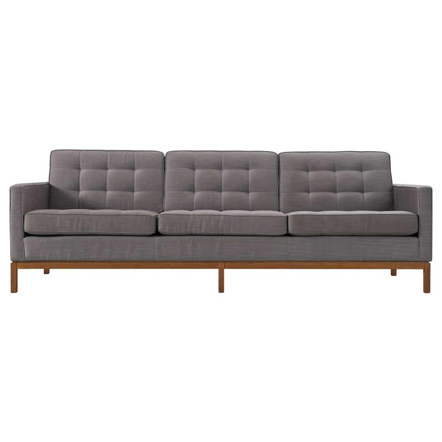 Sleek Florence Knoll Style Three Seat Sofa by Steelcase Chrome