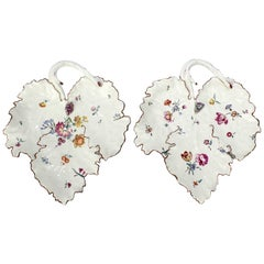 Pair of 18th Century Frankenthal Porcelain Leaf Dishes with Figural Grapes