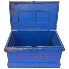 Joe Humphrey Blue and Red Work Chest or Box Folk Art