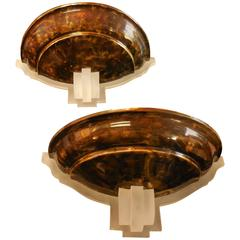 Karl Springer Pair of Large Tortoise-Bronze and Lucite Sconces