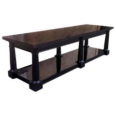 Maison Jansen Rare Extremely Long Neoclassic Black Lacquered Coffee Table