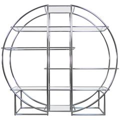 """Large """"Omega"""" Steeltube Shelf with Glass Plates from Germany, 1970s"""