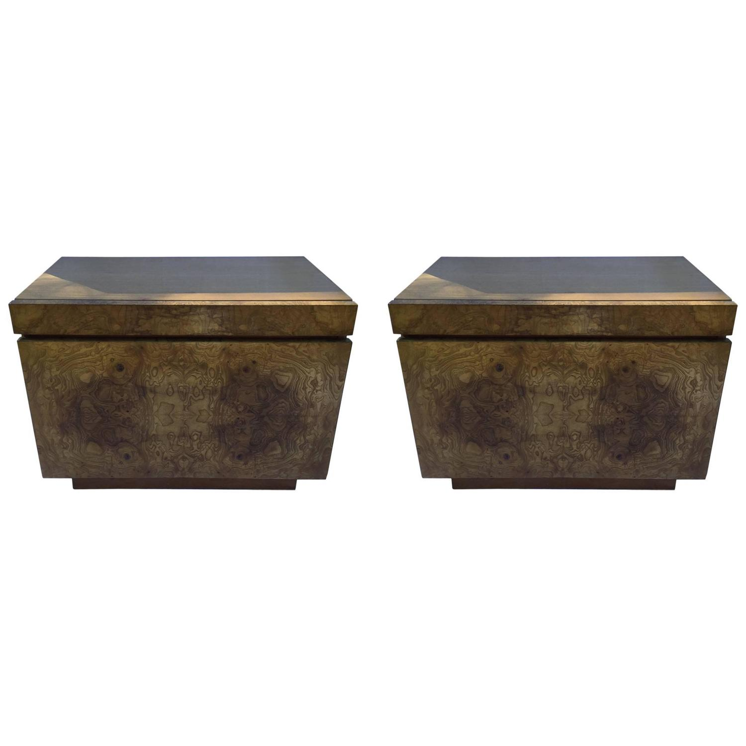 Pair Of Burl Wood End Tables Nightstands By Lane For Sale