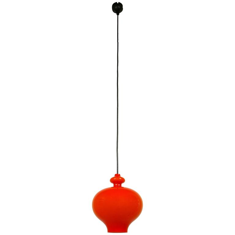 Orange Pendant Lamp of Handblown Glass by Holmegaard for Staff, Germany, 1960s