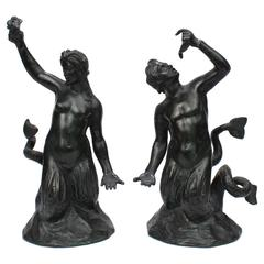 Pair of Grand Tour Bronze Mermaid & Merman Miniature Fountain Sculptures