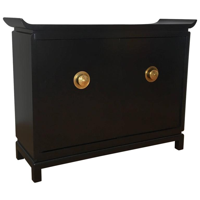 1950s Black Lacquer and Brass Cabinet Signed by James Mont