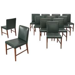 Illum Wikkelsø Set of 12 Dining Chairs in Teak and Green Leather