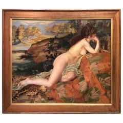 Young Female Nude Reclini in Front of a Bucolic Landscape, Signed Marcel Mangin